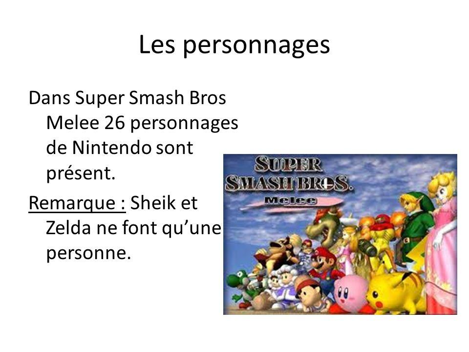 Les personnages Dans Super Smash Bros Melee 26 personnages de Nintendo sont présent. Remarque : Sheik et Zelda ne font quune personne.