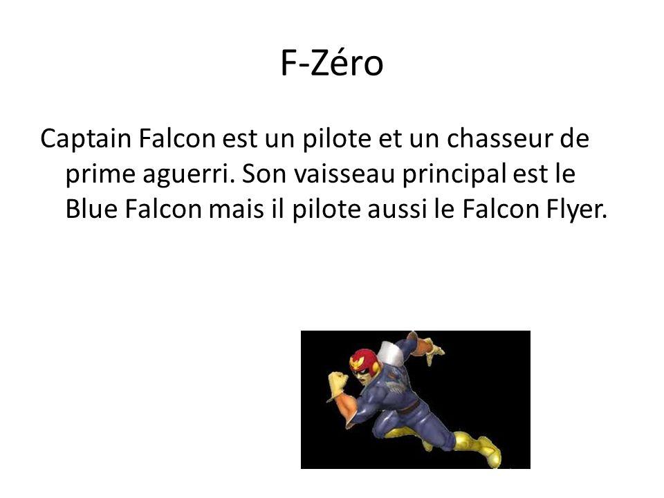 F-Zéro Captain Falcon est un pilote et un chasseur de prime aguerri. Son vaisseau principal est le Blue Falcon mais il pilote aussi le Falcon Flyer.