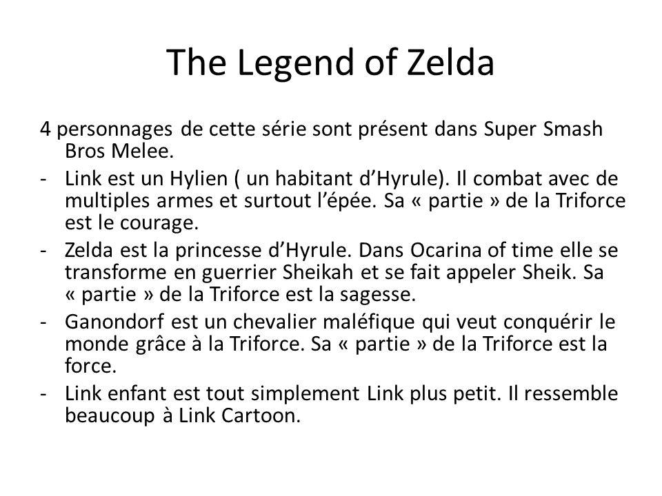 The Legend of Zelda 4 personnages de cette série sont présent dans Super Smash Bros Melee. -Link est un Hylien ( un habitant dHyrule). Il combat avec