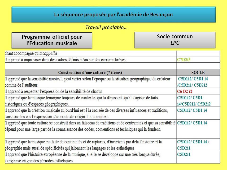 La séquence proposée par lacadémie de Besançon Travail préalable… Programme officiel pour lEducation musicale Socle commun LPC Socle commun LPC Réalis