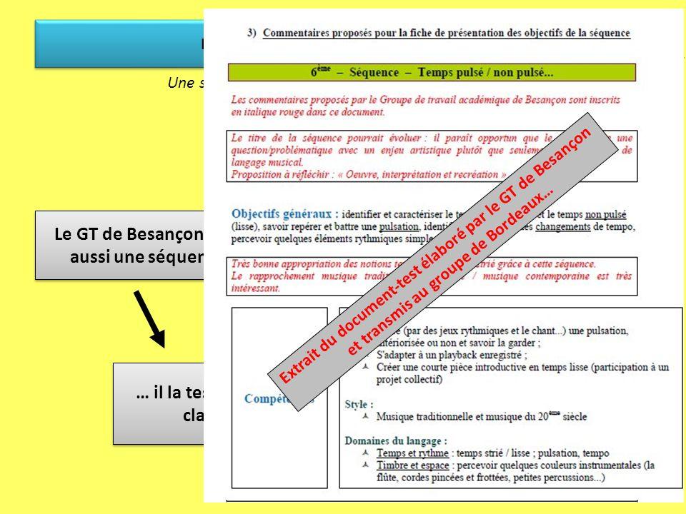 … qui est envoyé au… Les TraAM dans lacadémie de Besançon … séquence du GT de Bordeaux… … séquence du GT de Bordeaux… … il la teste dans des classes…