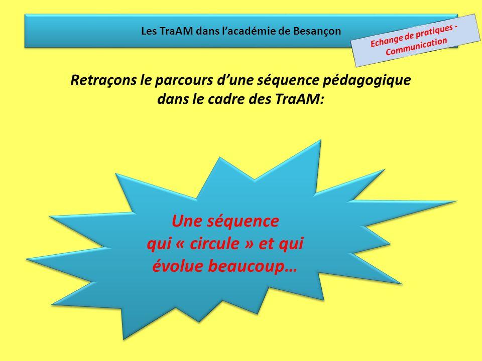 Chaque membre du groupe de travail (GT) de lacadémie de Besançon…...propose des séquences… Les TraAM dans lacadémie de Besançon le GT en choisit une…