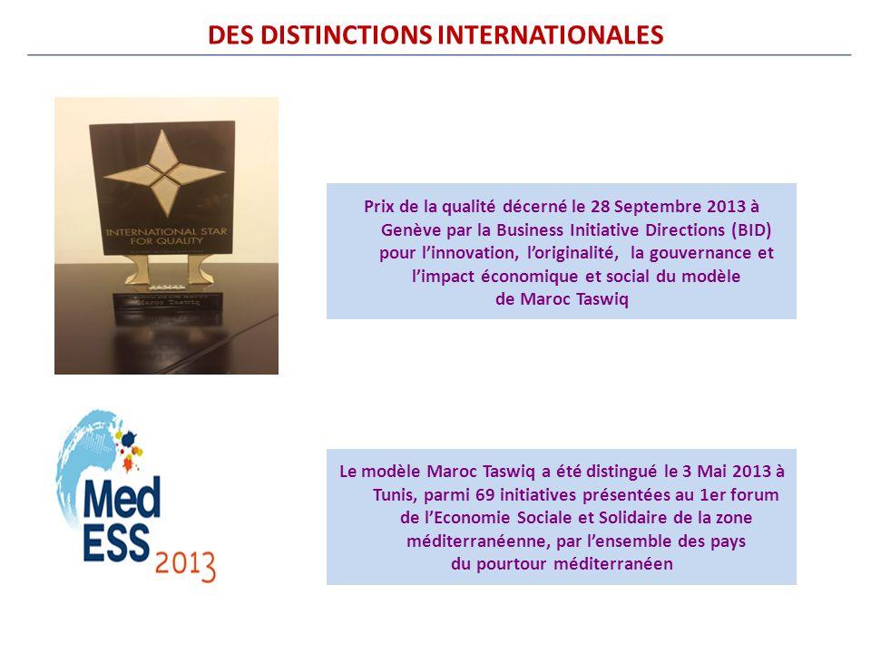 DES DISTINCTIONS INTERNATIONALES Prix de la qualité décerné le 28 Septembre 2013 à Genève par la Business Initiative Directions (BID) pour linnovation