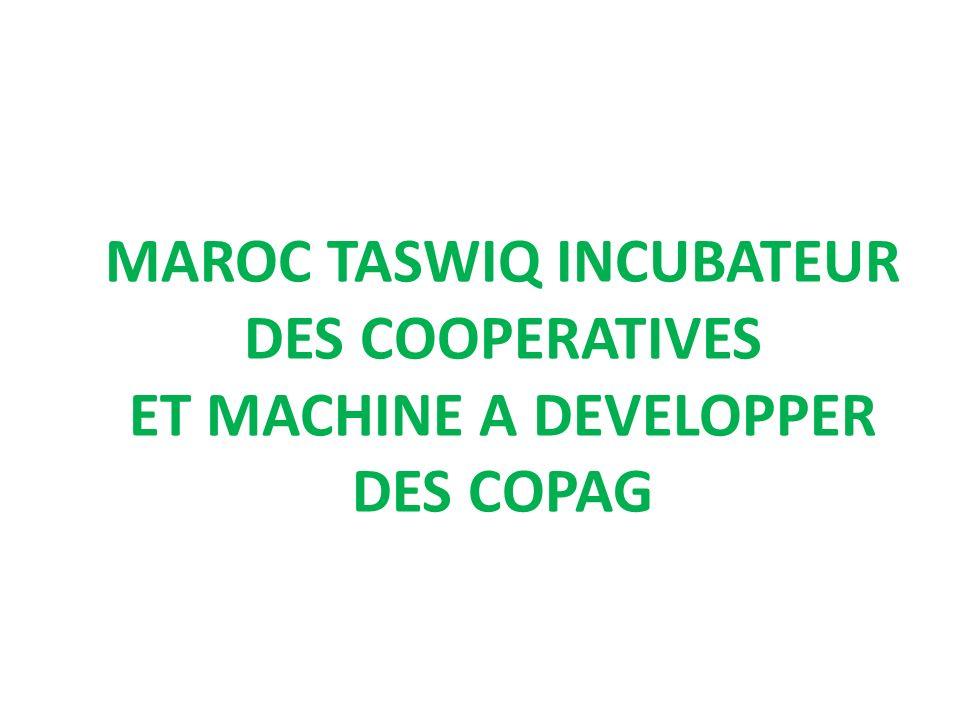 MAROC TASWIQ INCUBATEUR DES COOPERATIVES ET MACHINE A DEVELOPPER DES COPAG