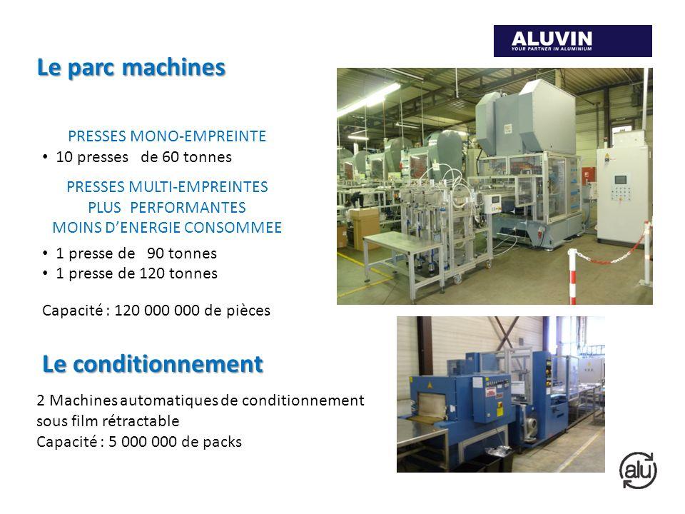 Le parc machines PRESSES MONO-EMPREINTE 10 presses de 60 tonnes PRESSES MULTI-EMPREINTES PLUS PERFORMANTES MOINS DENERGIE CONSOMMEE 1 presse de 90 ton