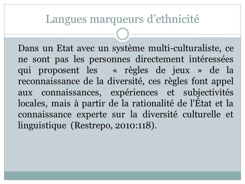 Langues marqueurs dethnicité Dans un Etat avec un système multi-culturaliste, ce ne sont pas les personnes directement intéressées qui proposent les «