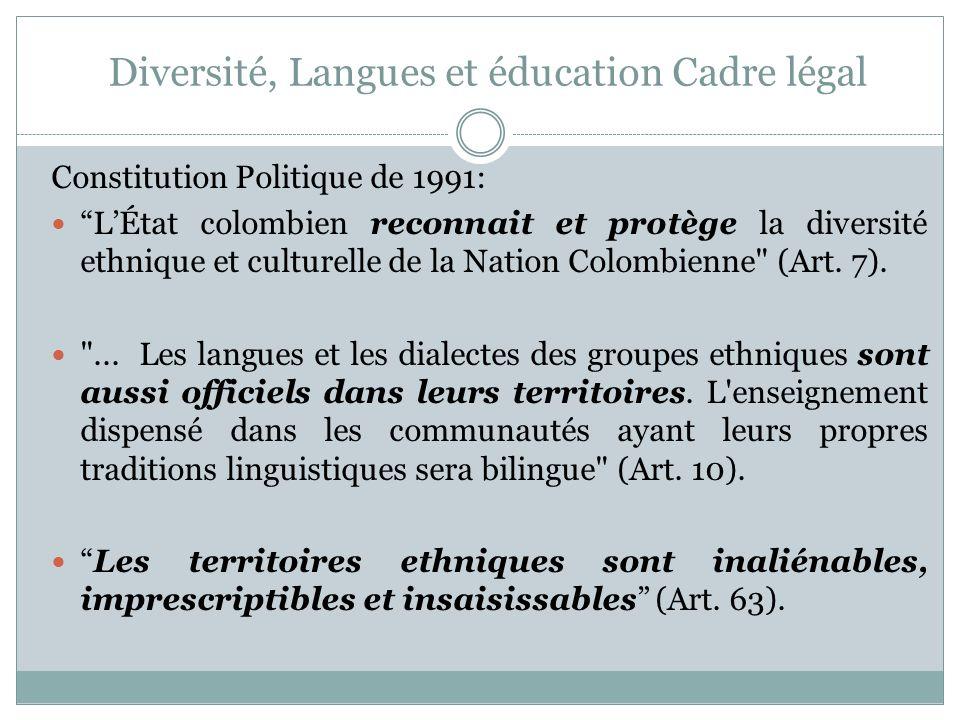 Diversité, Langues et éducation Cadre légal Loi 1381 de 2010 dans laquelle sont formulées les règles sur la reconnaissance, la promotion, la protection, l usage, la préservation et le renforcement des langues des groupes ethniques de la Colombie et sur leurs droits linguistiques et ceux de leurs locuteurs parlant cette langue.