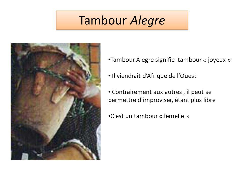 Tambour Alegre Tambour Alegre signifie tambour « joyeux » Il viendrait dAfrique de lOuest Contrairement aux autres, il peut se permettre dimproviser, étant plus libre Cest un tambour « femelle »