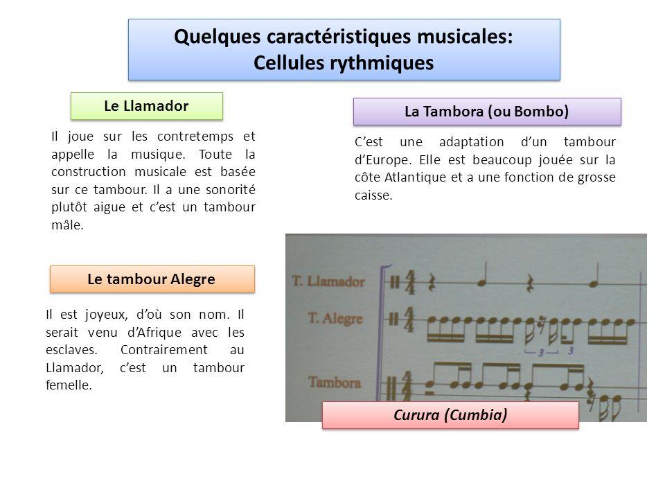 Quelques caractéristiques musicales: Cellules rythmiques Quelques caractéristiques musicales: Cellules rythmiques Le Llamador Il joue sur les contretemps et appelle la musique.