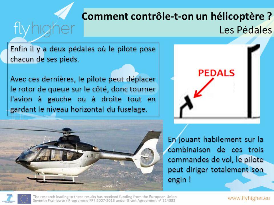 www.flyhigher.eu Enfin il y a deux pédales où le pilote pose chacun de ses pieds.