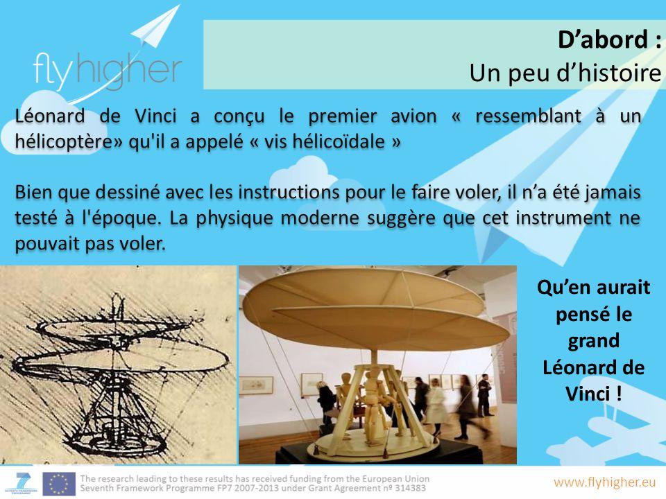 www.flyhigher.eu Léonard de Vinci a conçu le premier avion « ressemblant à un hélicoptère» qu il a appelé « vis hélicoïdale » Bien que dessiné avec les instructions pour le faire voler, il na été jamais testé à l époque.