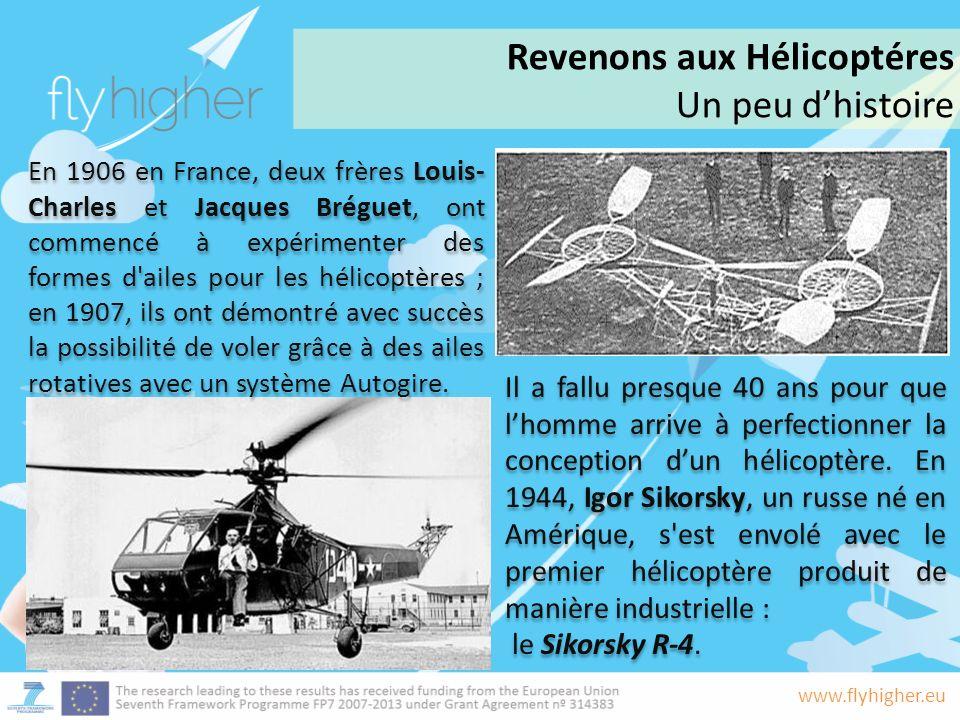 www.flyhigher.eu Il a fallu presque 40 ans pour que lhomme arrive à perfectionner la conception dun hélicoptère.