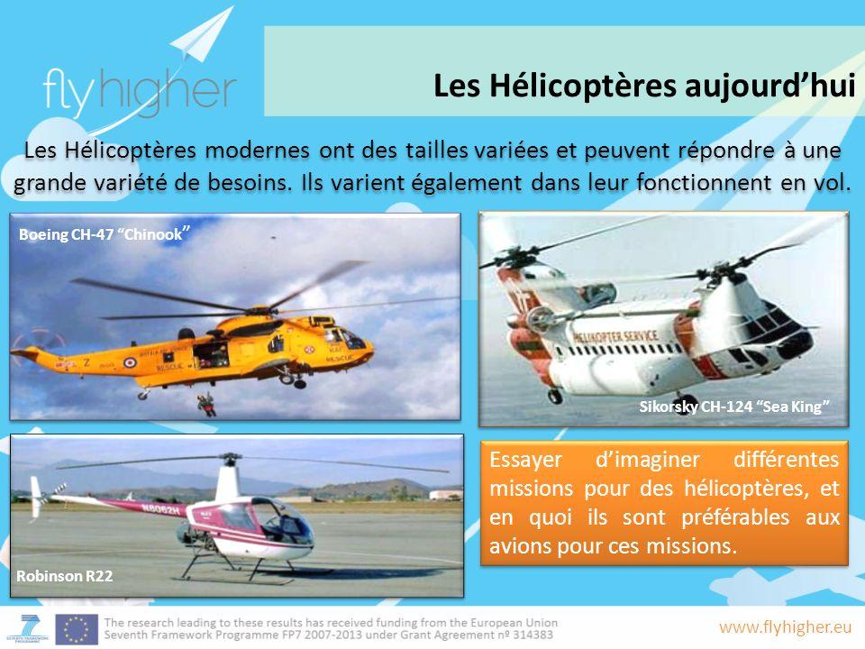 www.flyhigher.eu Les Hélicoptères modernes ont des tailles variées et peuvent répondre à une grande variété de besoins.
