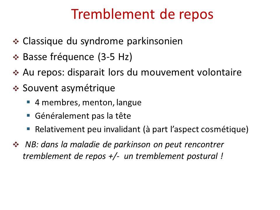 Classique du syndrome parkinsonien Basse fréquence (3-5 Hz) Au repos: disparait lors du mouvement volontaire Souvent asymétrique 4 membres, menton, la