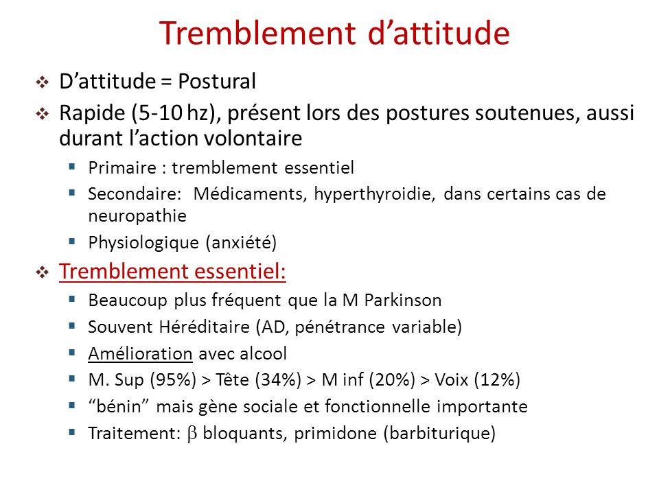 Dattitude = Postural Rapide (5-10 hz), présent lors des postures soutenues, aussi durant laction volontaire Primaire : tremblement essentiel Secondair