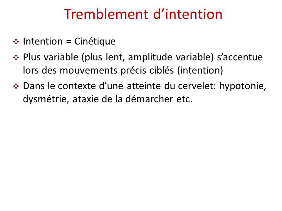 Intention = Cinétique Plus variable (plus lent, amplitude variable) saccentue lors des mouvements précis ciblés (intention) Dans le contexte dune atte