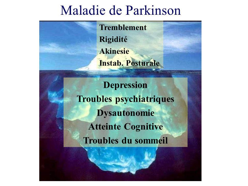Depression Troubles psychiatriques Dysautonomie Atteinte Cognitive Troubles du sommeil Tremblement Rigidité Akinesie Instab. Posturale Maladie de Park