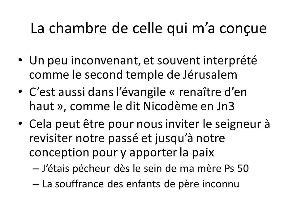 La chambre de celle qui ma conçue Un peu inconvenant, et souvent interprété comme le second temple de Jérusalem Cest aussi dans lévangile « renaître d
