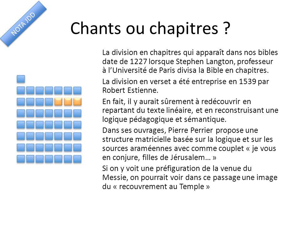 Chants ou chapitres ? La division en chapitres qui apparaît dans nos bibles date de 1227 lorsque Stephen Langton, professeur à lUniversité de Paris di