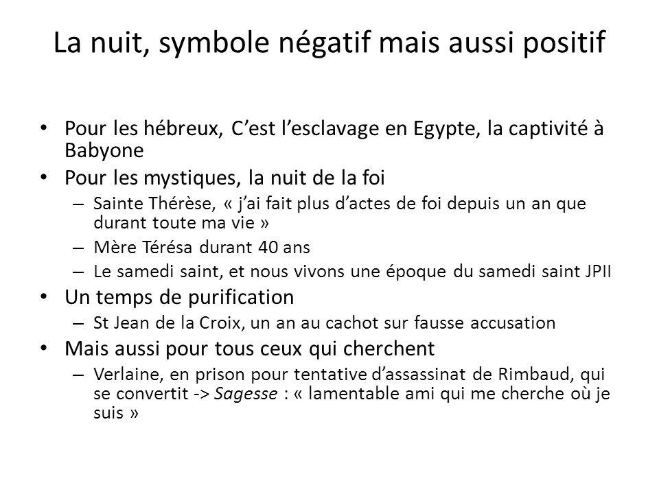 La nuit, symbole négatif mais aussi positif Pour les hébreux, Cest lesclavage en Egypte, la captivité à Babyone Pour les mystiques, la nuit de la foi