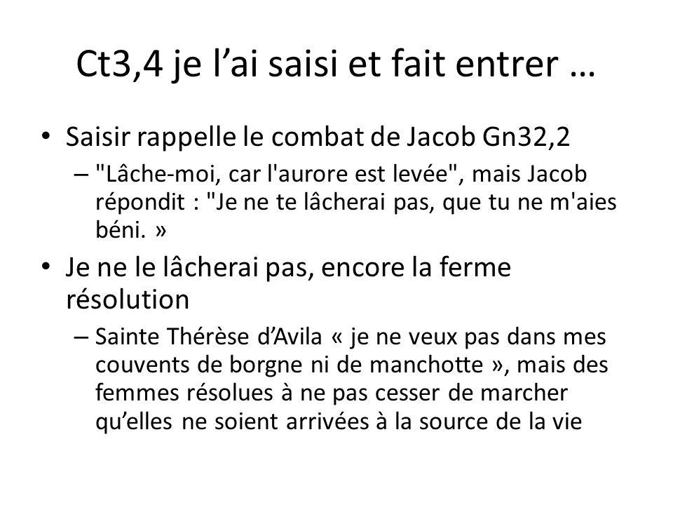 Ct3,4 je lai saisi et fait entrer … Saisir rappelle le combat de Jacob Gn32,2 –