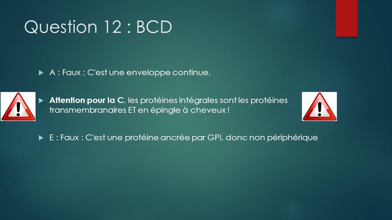 Question 12 : BCD A : Faux : C'est une enveloppe continue. Attention pour la C, les protéines intégrales sont les protéines transmembranaires ET en ép