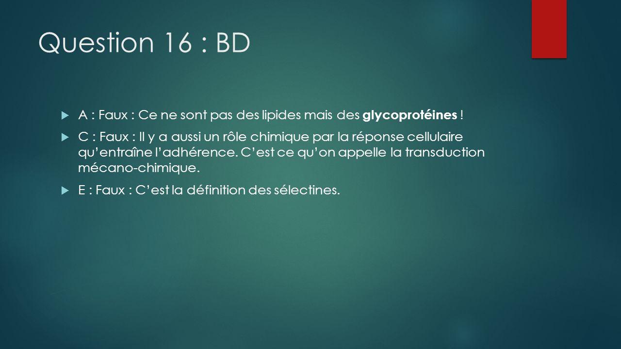 Question 16 : BD A : Faux : Ce ne sont pas des lipides mais des glycoprotéines ! C : Faux : Il y a aussi un rôle chimique par la réponse cellulaire qu