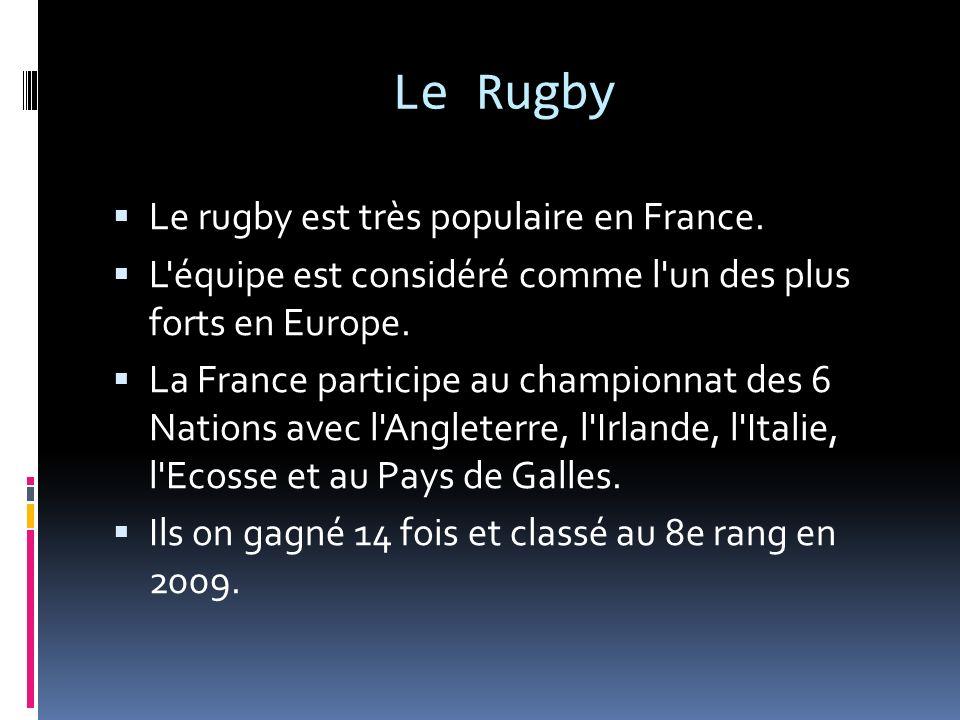 Le rugby est très populaire en France. L'équipe est considéré comme l'un des plus forts en Europe. La France participe au championnat des 6 Nations av