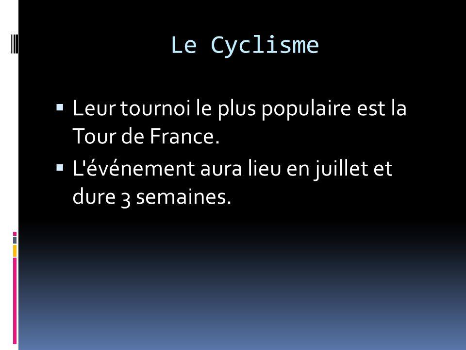 Leur tournoi le plus populaire est la Tour de France. L'événement aura lieu en juillet et dure 3 semaines.
