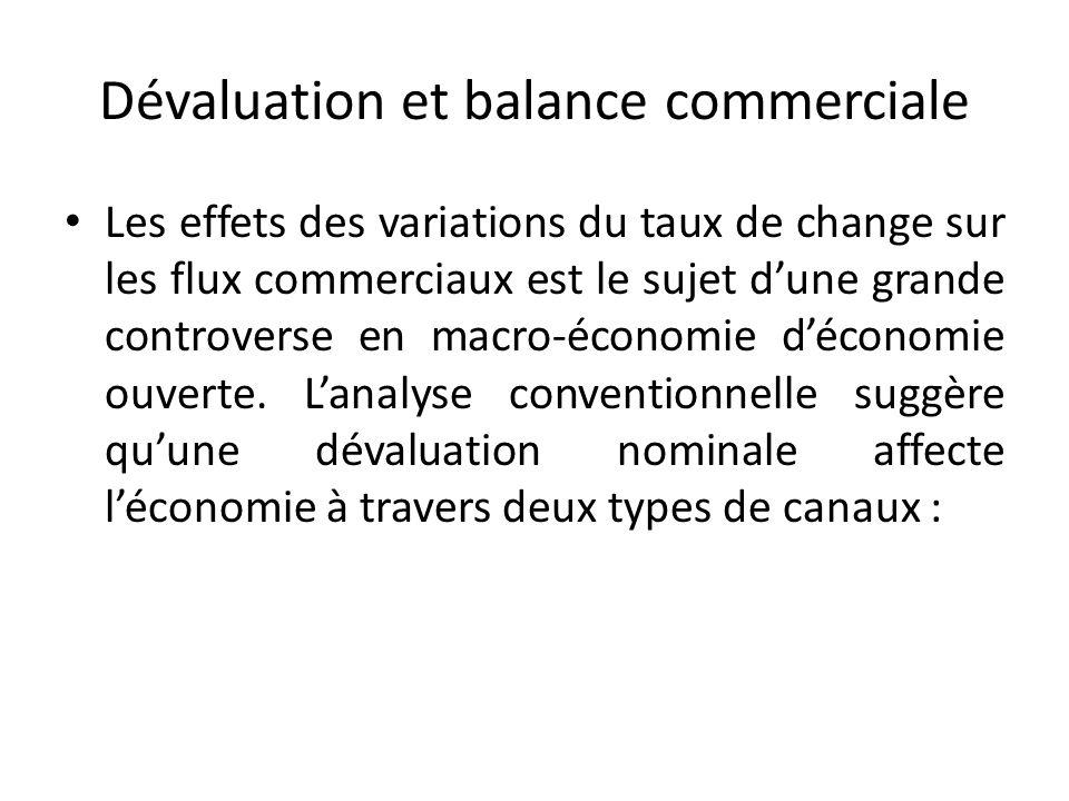 Dévaluation et balance commerciale Les effets des variations du taux de change sur les flux commerciaux est le sujet dune grande controverse en macro-économie déconomie ouverte.