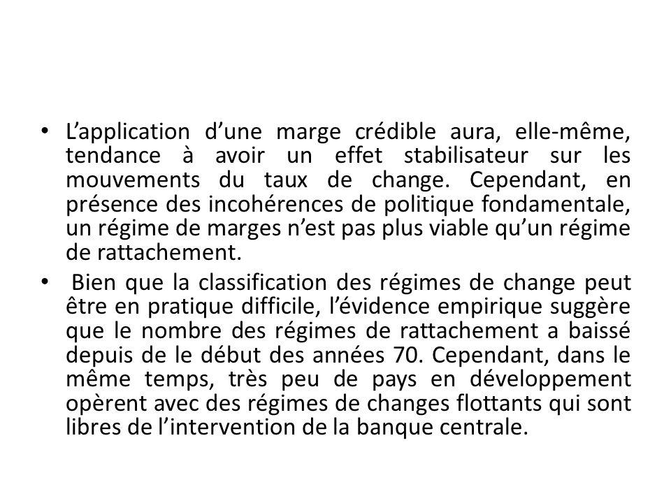 Lapplication dune marge crédible aura, elle-même, tendance à avoir un effet stabilisateur sur les mouvements du taux de change.