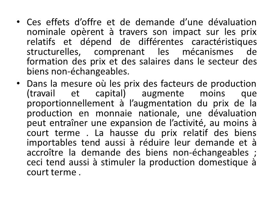 Ces effets doffre et de demande dune dévaluation nominale opèrent à travers son impact sur les prix relatifs et dépend de différentes caractéristiques structurelles, comprenant les mécanismes de formation des prix et des salaires dans le secteur des biens non-échangeables.