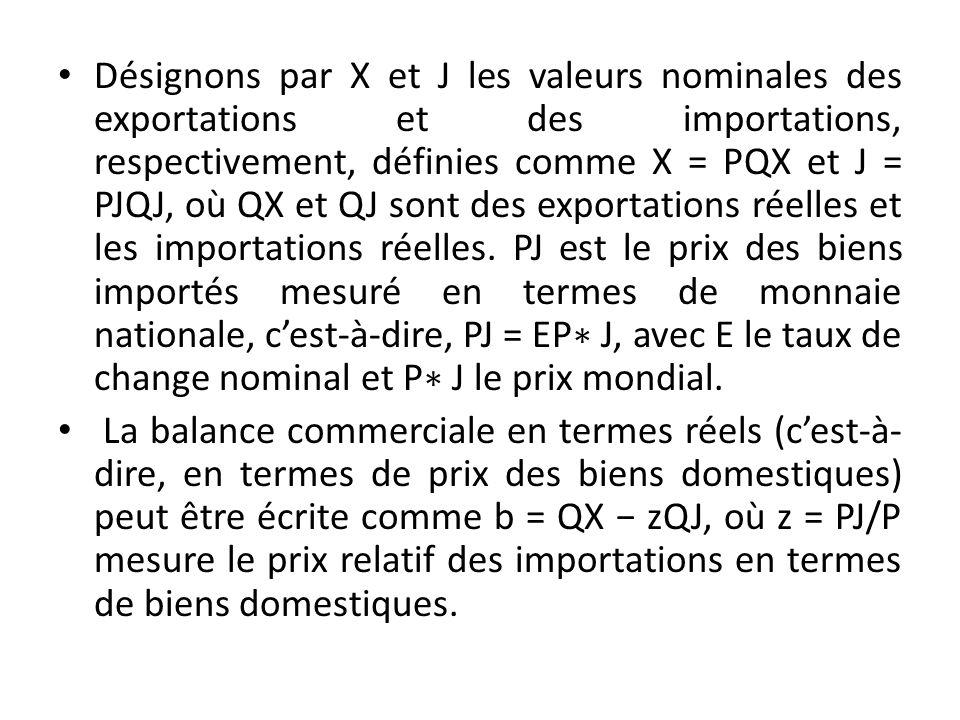 Désignons par X et J les valeurs nominales des exportations et des importations, respectivement, définies comme X = PQX et J = PJQJ, où QX et QJ sont des exportations réelles et les importations réelles.