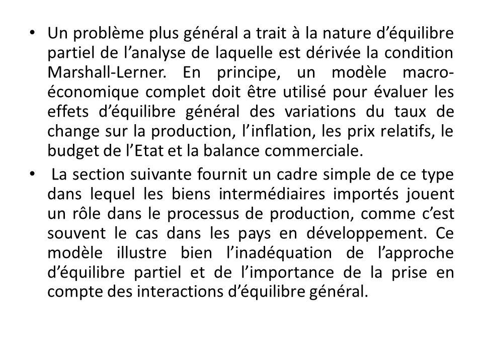 Un problème plus général a trait à la nature déquilibre partiel de lanalyse de laquelle est dérivée la condition Marshall-Lerner.