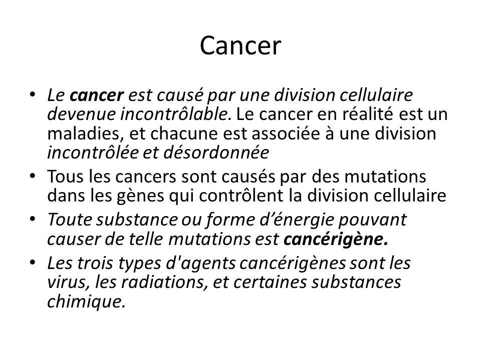 Cancer Le cancer est causé par une division cellulaire devenue incontrôlable. Le cancer en réalité est un maladies, et chacune est associée à une divi