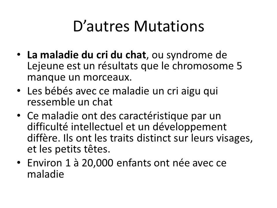 Dautres Mutations La maladie du cri du chat, ou syndrome de Lejeune est un résultats que le chromosome 5 manque un morceaux. Les bébés avec ce maladie