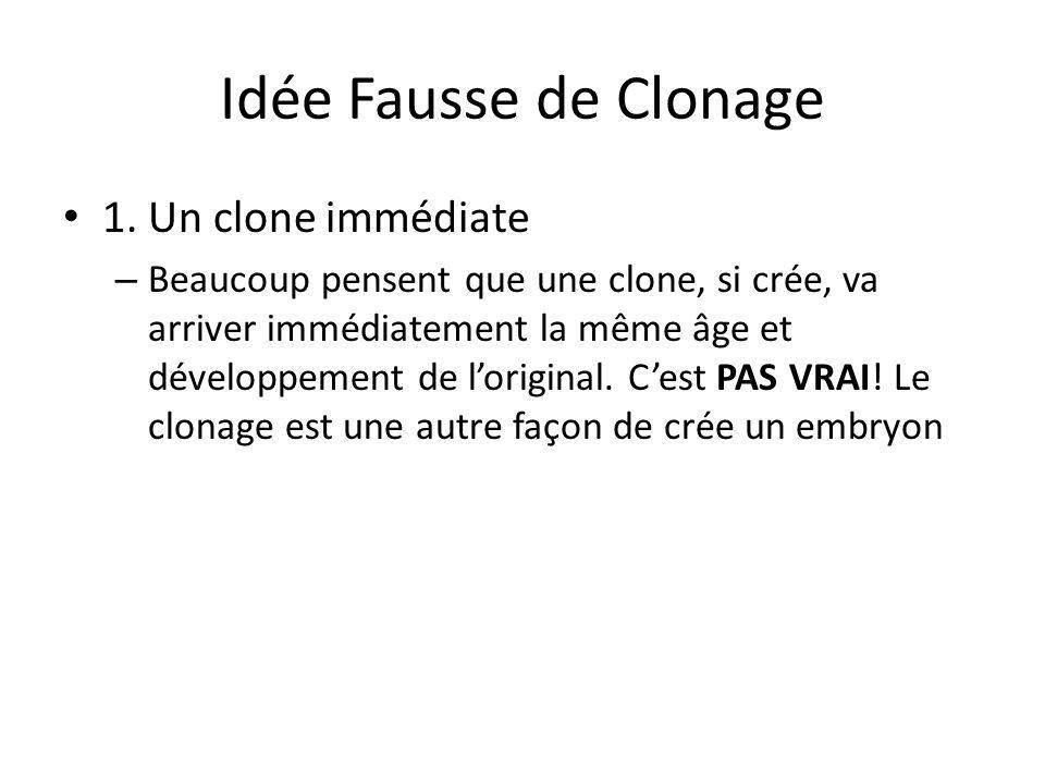 Idée Fausse de Clonage 1. Un clone immédiate – Beaucoup pensent que une clone, si crée, va arriver immédiatement la même âge et développement de lorig
