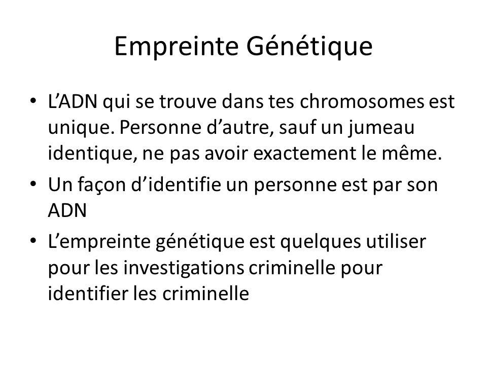 Empreinte Génétique LADN qui se trouve dans tes chromosomes est unique. Personne dautre, sauf un jumeau identique, ne pas avoir exactement le même. Un