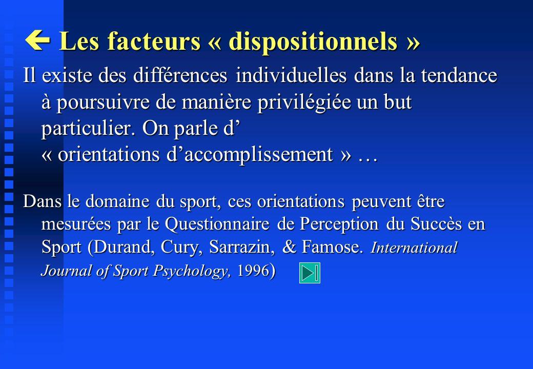 Les facteurs « dispositionnels » Les facteurs « dispositionnels » Il existe des différences individuelles dans la tendance à poursuivre de manière pri