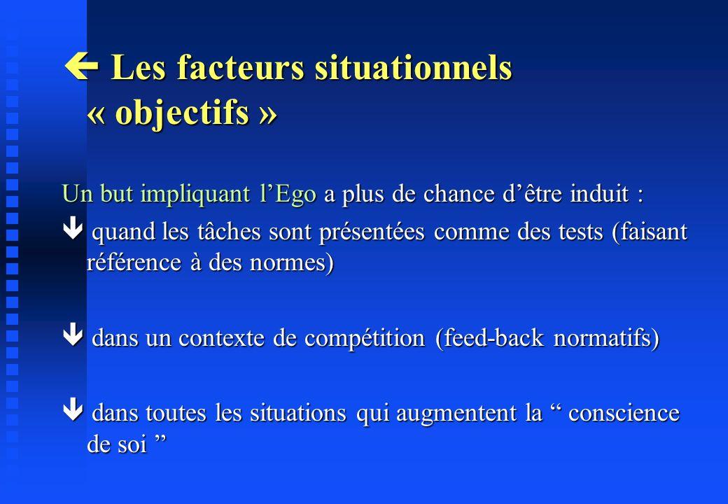 Les facteurs situationnels « objectifs » Les facteurs situationnels « objectifs » Un but impliquant lEgo a plus de chance dêtre induit : quand les tâc
