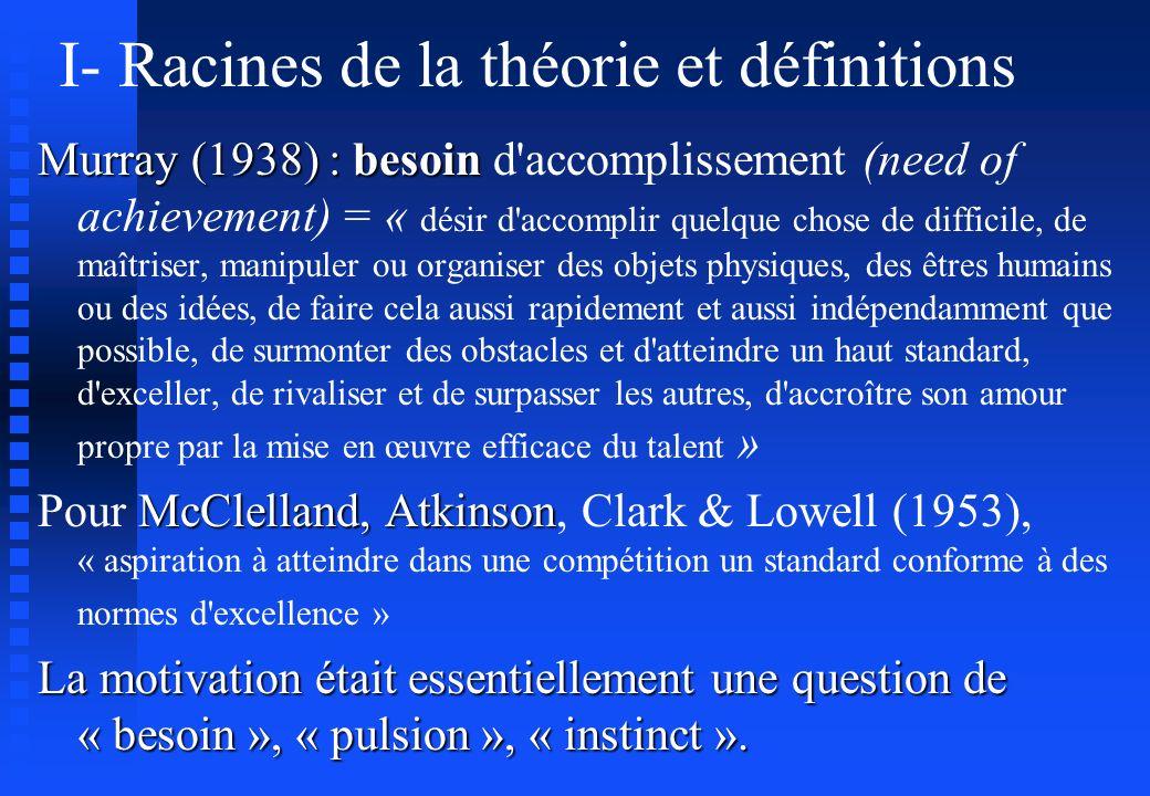 I- Racines de la théorie et définitions Murray (1938) : besoin Murray (1938) : besoin d'accomplissement (need of achievement) = « désir d'accomplir qu