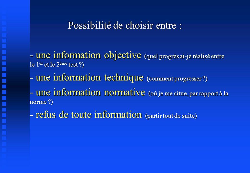 Possibilité de choisir entre : - une information objective (quel progrès ai-je réalisé entre le 1 er et le 2 ème test ?) - une information technique (