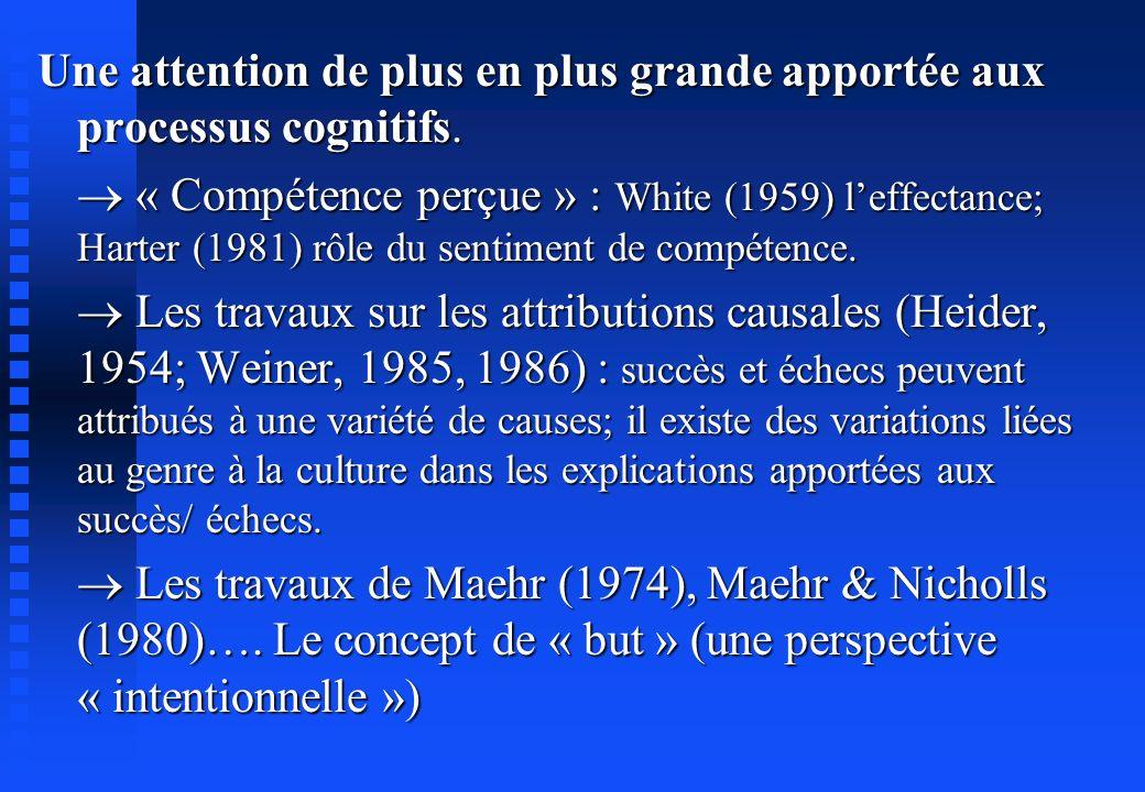 Une attention de plus en plus grande apportée aux processus cognitifs. « Compétence perçue » : White (1959) leffectance; Harter (1981) rôle du sentime