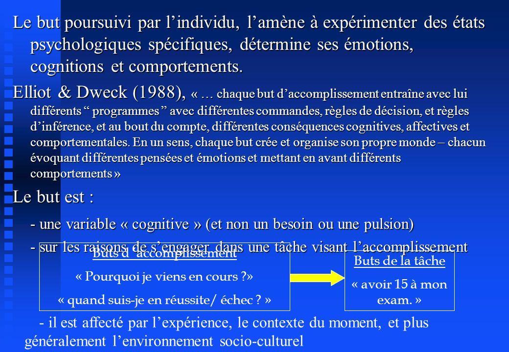 Le but poursuivi par lindividu, lamène à expérimenter des états psychologiques spécifiques, détermine ses émotions, cognitions et comportements. Ellio