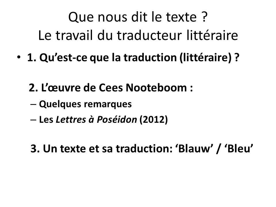 Que nous dit le texte ? Le travail du traducteur littéraire 1. Quest-ce que la traduction (littéraire) ? 2. Lœuvre de Cees Nooteboom : – Quelques rema