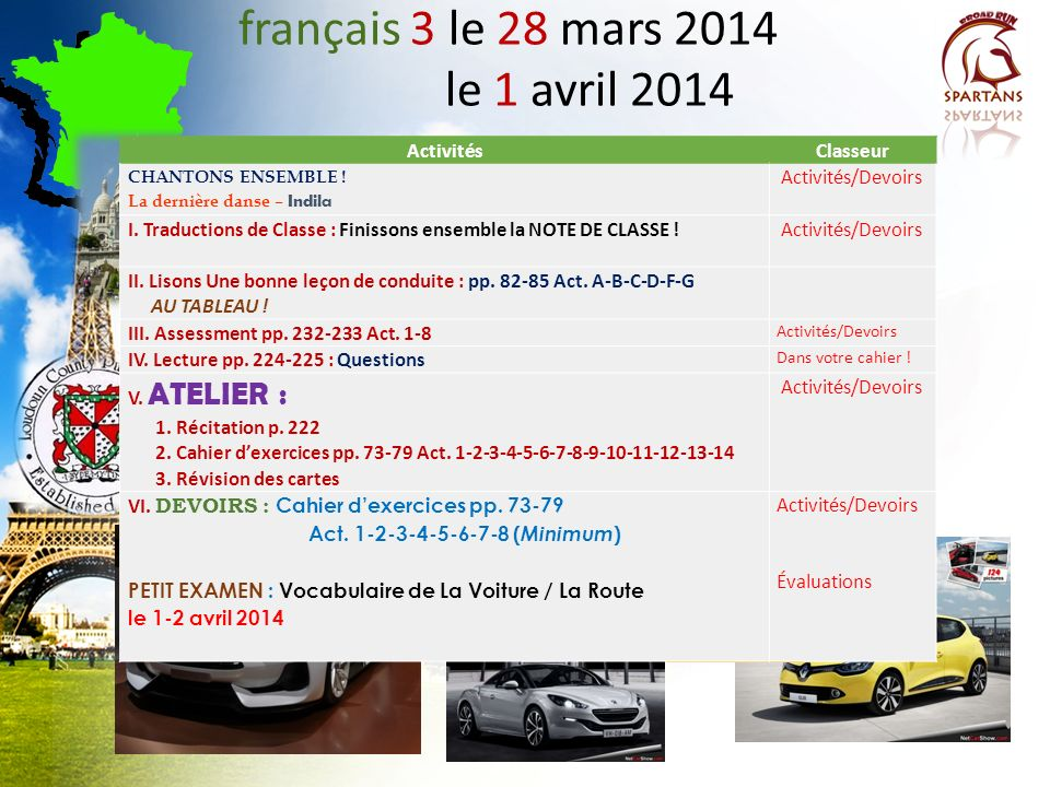 français 3 le 28 mars 2014 le 1 avril 2014 ActivitésClasseur CHANTONS ENSEMBLE .