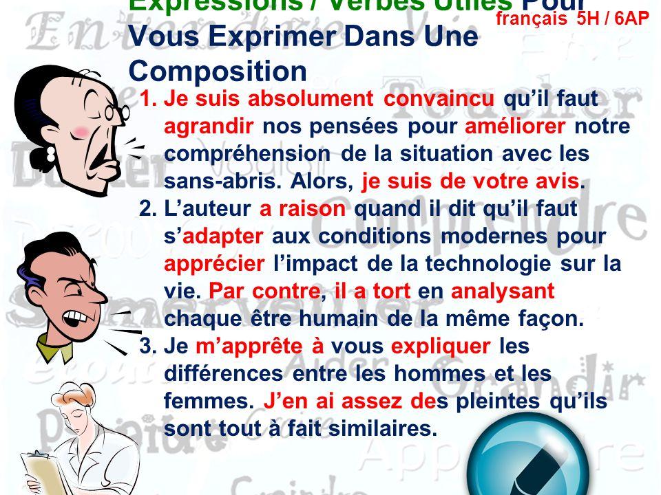 Expressions de transition français 5H / 6AP http://quizlet.com/1142265/ap-les-expressions-de-transition- flash-cards/ 1.A mon avis, lavortement devrai