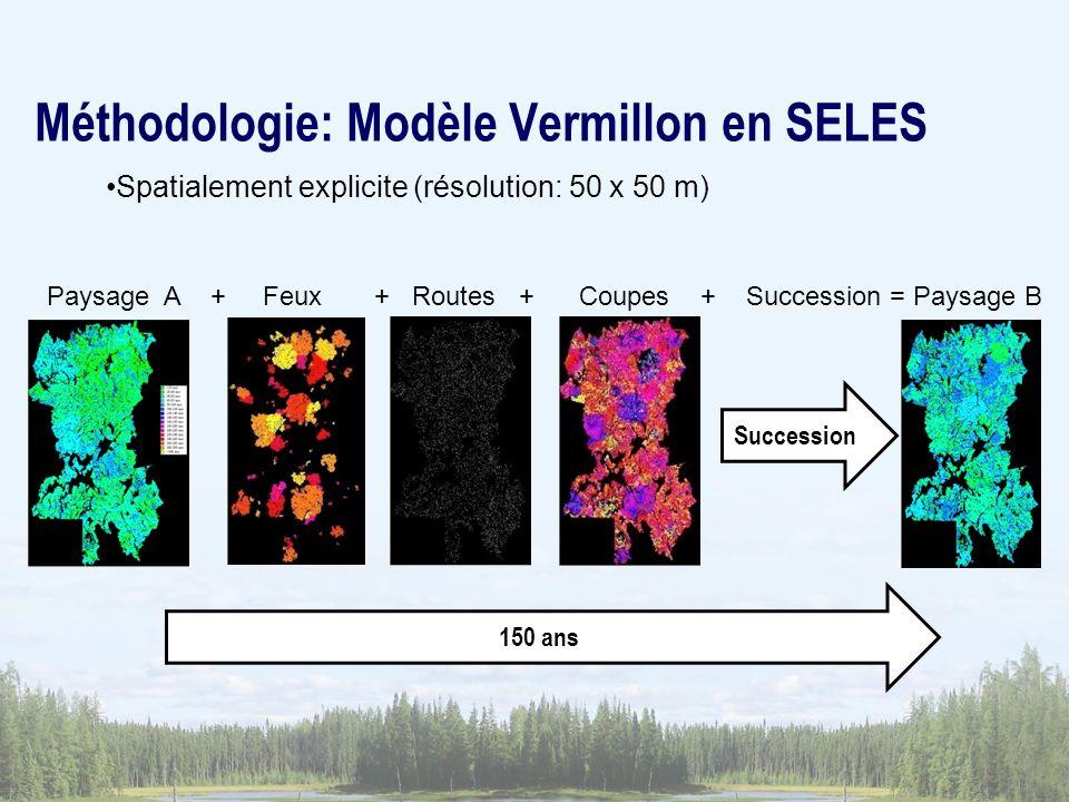Méthodologie: Modèle Vermillon en SELES Paysage A + Feux + Routes + Coupes + Succession = Paysage B Succession 150 ans Spatialement explicite (résolut