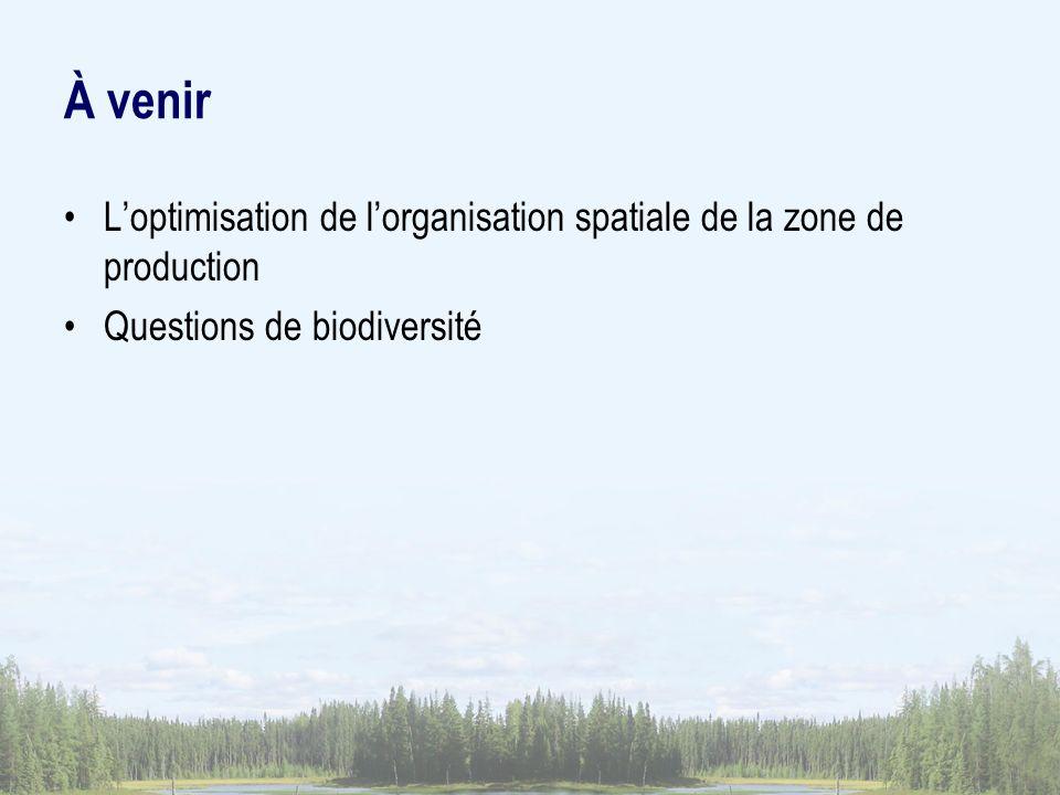 À venir Loptimisation de lorganisation spatiale de la zone de production Questions de biodiversité
