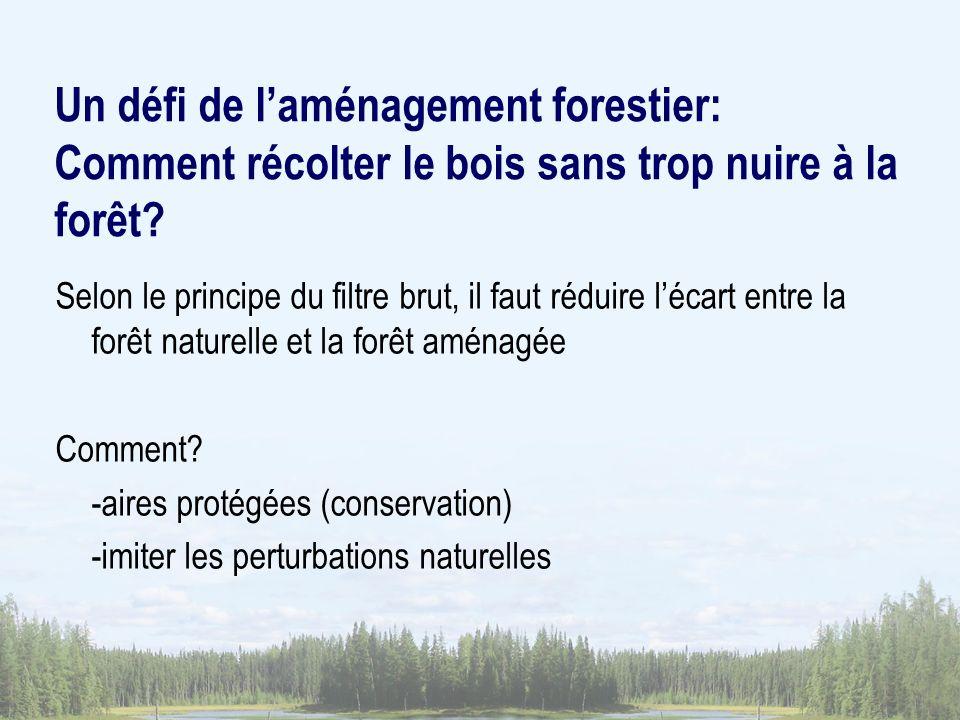 Un défi de laménagement forestier: Comment récolter le bois sans trop nuire à la forêt? Selon le principe du filtre brut, il faut réduire lécart entre